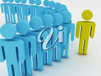 Large group. 3d group of people illustration