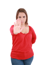 Isolated young woman stop sign, focus on hand