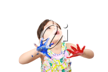 Learning and play themed image of a little girl with hands painted