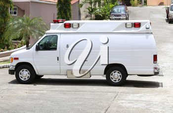 White ambulance in the street