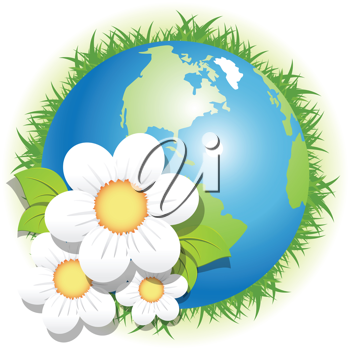 Royalty Free Clipart Image of a Globe With Flowers