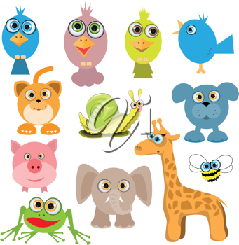 Royalty Free Clipart Image of a Set of Cartoon Animals