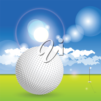 Royalty Free Clipart Image of a Golf Ball and Course