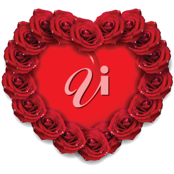 Royalty Free Clipart Image of a Heart With Red Roses