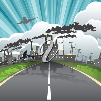 Royalty Free Clipart Image of an Industrial City