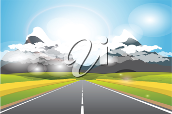 Royalty Free Clipart Image of a Road by Mountains