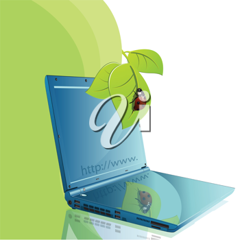 Royalty Free Clipart Image of a Ladybug on a Laptop