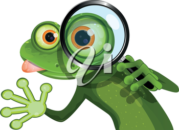 Royalty Free Clipart Image of a Lizard or Frog With a Magnifying Glass