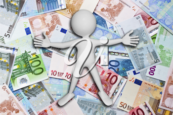 An abstract illustration of a white man lying on the euro