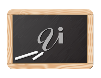 Royalty Free Clipart Image of a Chalkboard and Chalk