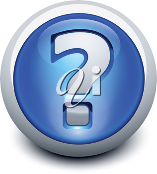 Royalty Free Clipart Image of a Question Mark Button