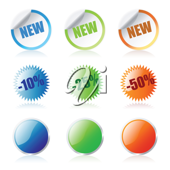 Royalty Free Clipart Image of Glossy Sales Stickers