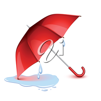 Royalty Free Clipart Image of a Wet Red Umbrella