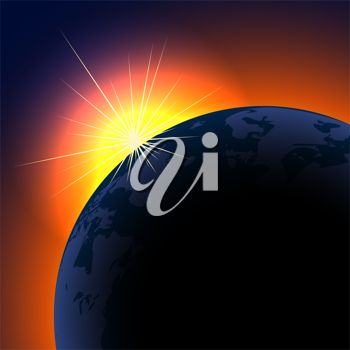 Royalty Free Clipart Image of a Sunrise Over Planet Earth