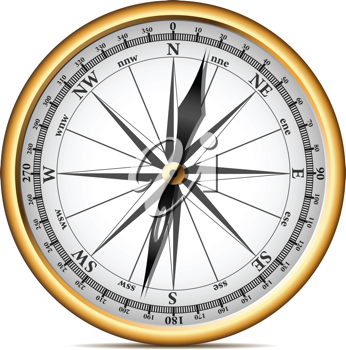 Royalty Free Clipart Image of a Golden Compass
