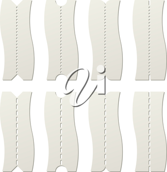Paper tear off perforated line template vector template.