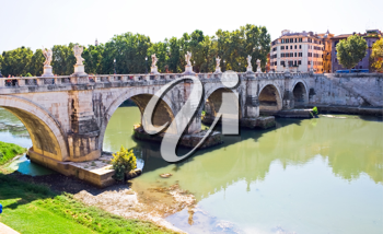 Royalty Free Photo of Ponte Sant Angelo Bridge in Rome Italy
