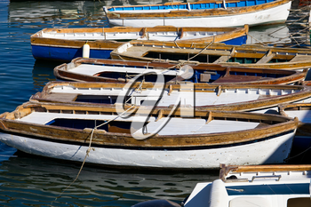 Boats in beautiful marina of Mergellina zone, Naples, Italy