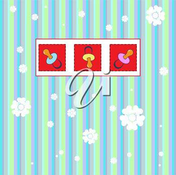 Royalty Free Clipart Image of a Baby Pacifier Greeting Card
