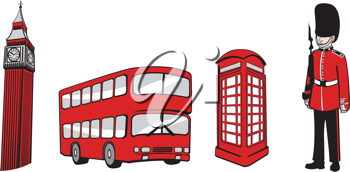 Royalty Free Clipart Image of London England Icons