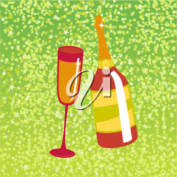 Royalty Free Clipart Image of a Bottle of Champagne