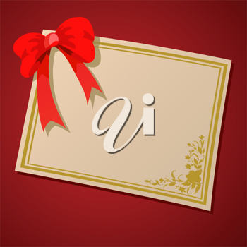 Royalty Free Clipart Image of a Certificate and Bow