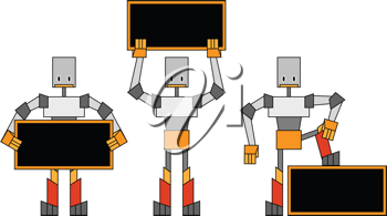 Royalty Free Clipart Image of Robots Holding Signs