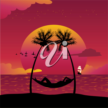 Royalty Free Clipart Image of a Woman in a Hammock by the Water