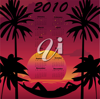 Royalty Free Clipart Image of a 2010 Calendar