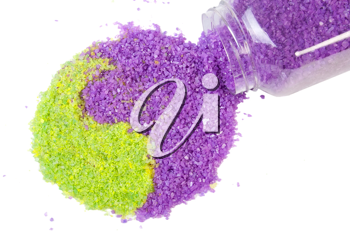 Royalty Free Photo of Lavender and Green Tea Sea Salt in Yin-Yang Sign