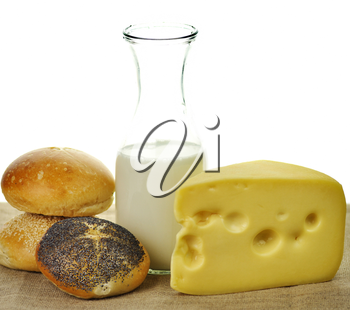 Dairy products - milk , cheese and bread rolls