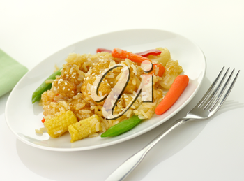white meat chicken with rice ,vegetables and sesame seeds in a mandarin sauce
