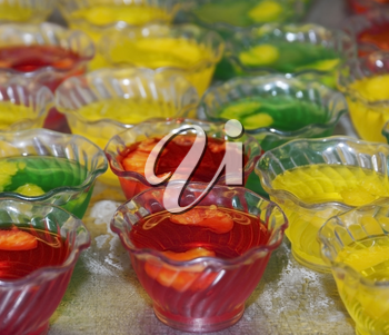 Colorful Jello Desserts In Plastic Bowls