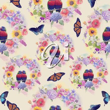 seamless  nature pattern with flowers,birds and butterflies . Endless texture for your design.