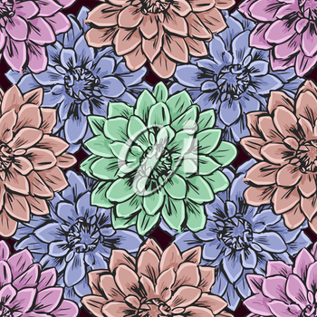 Hand draw seamless floral pattern. Vector illustration.