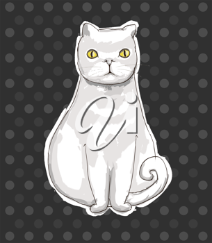 Royalty Free Clipart Image of a White Cat on a Spotted Background