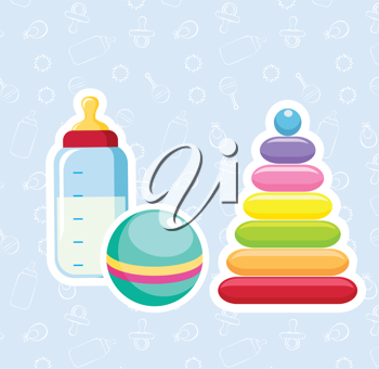 Royalty Free Clipart Image of a Baby Bottle, Ball and Toy on a Blue Background