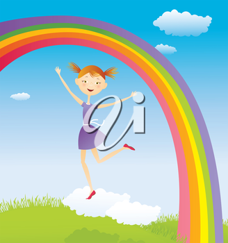 Girl on cloud and a rainbow.EPS10. Contains transparent objects used for face drawing