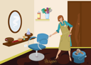 Royalty Free Clipart Image of a Woman at a Beauty Salon