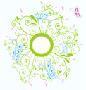 Royalty Free Clipart Image of a Floral Butterfly Background