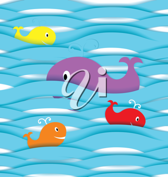 Royalty Free Clipart Image of Paper Whales