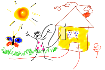 Royalty Free Clipart Image of a Childs Drawing