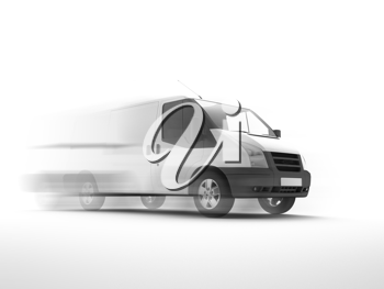 3d illustration of a blank white van