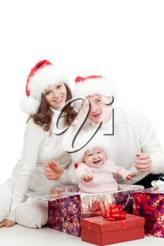 Royalty Free Photo of a Family With Christmas Presents