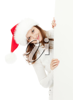 Royalty Free Photo of a Woman Wearing a Santa Hat
