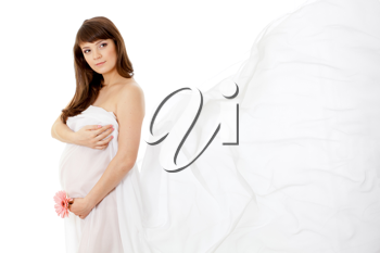 Royalty Free Photo of a Pregnant Woman With a White Shawl