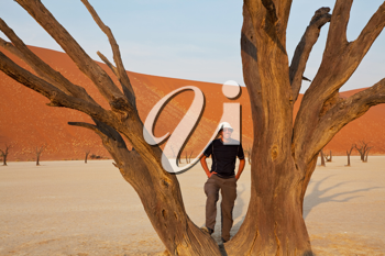 Royalty Free Photo of Person in Dead Valley in Namibia