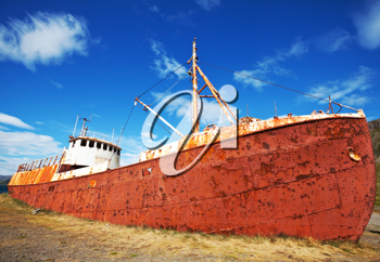 Royalty Free Photo of an Old Rusted Ship