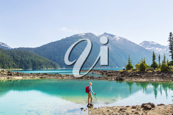 Hike to turquoise waters of picturesque Garibaldi Lake near Whistler, BC, Canada. Very popular hike destination in British Columbia.