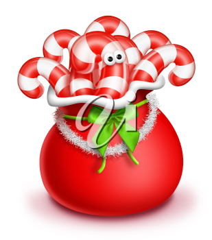 Royalty Free Clipart Image of a Bag of Candy Canes